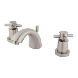 """Kingston Brass - Two Handle 4"""" to 8"""" Mini Widespread Lavatory Faucet with Brass Pop-up KS2958DX - This two handle bathroom faucet is constructed of high quality brass to ensure reliability and durability. Its premier finish resists tarnishing and corrosion. A matching pop-up drain is included and constructed of solid brass. All mounting hardware is included and standard US plumbing connections are used.. Manufacturer: Kingston Brass. Model: KS2958DX. UPC: 663370105524. Product Name: Two Handle 4"""" to 8"""" Mini Widespread Lavatory Faucet with Brass Pop-up. Collection / Series: Concord. Finish: Satin Nickel. Theme: Contemporary / Modern. Material: Brass. Type: Faucet. Features: Drip-free ceramic cartridge system"""