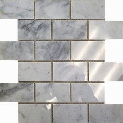Carrara polished 2x4 Brick pattern stone mosaic - Carrara polished 2x4 stone brick pattern mosaic.