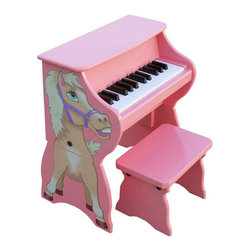 "Schoenhut - 25 Key Horse with Bench in Pink - The award winning Fancy Baby Grand Piano is elegantly designed, yet durable and sturdy. It is easy to understand play-by-color teaching method and included song book combine to create a fantastic patented learning, system that has been designed to build a child's confidence and develop basic playing skills. With a beautiful design and education function, the Fancy Baby Grand Piano is a must have in any home! Features: -25 key horse with bench. -Ideal for ages 3 and up. -Thirty key, two and a half - octave keyboard. -Song book included. -Chromatically tuned using little hammers striking precision - ground German steel music rods. -Removable color strip fits behind keys for play - by - color teaching method. -Enhances memorization and musical note reading skills. -Adult - sized keys help child learn proper ""finger stretch"". -No tuning necessary. -Awarded ""Smart Play - Smart Toy"" by Dr. Toy. -Available separately in Lavender, Pink, Red, Blue and Green. -Color: Pink. -Dimensions: 12"" H x 12"" W x 17"" D, 20 lbs."