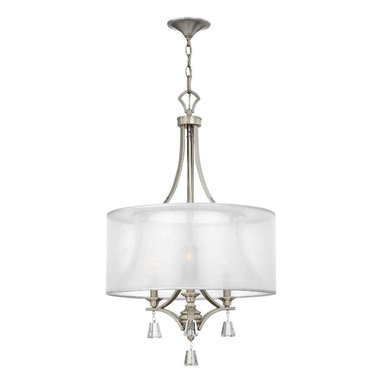 Mime Light Chandelier by Hinkley Lighting - The Mime Light Chandelier is available in a 3-light, 4-light, and 6-light versions. Also available in either a brushed nickel or a french bronze finish. The chandeliers require (3), (4), or (6) 60-watt, 120 volt A-15 candelabra incandescent bulbs not included. The dimensions of the three sizes are: 3-light: 19W x 32H. 4-light: 25W x 36H. 6-light: 30.25W x 41.25H. The canopy is 5.25 inches in diameter and it comes with a 144-inch leadwire. C-US Dry Rated.