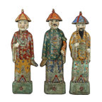 Oriental Danny - Set of 3, Chinese Porcelain Figures - Set of 3 Chinese porcelain figures are hand painted in rich and bold colors. Three men symbolize luck, wealth, and knowledge.