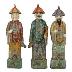 Oriental Danny - Chinese Porcelain Figures, Set of 3 - Set of 3 Chinese porcelain figures are hand painted in rich and bold colors. Three men symbolize luck, wealth, and knowledge.