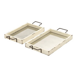 Benzara - Modern and Classic Style Wood Mirror Tray Set of 2 Home Decor - Description: