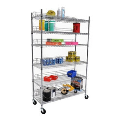 """Trinity - Six Tier NSF Shelving Rack in Chrome - Features: -Shelving rack. -Nickel, chromium, and copper plating- -Chrome plated heavy duty steel wire. -NSF, food-safe certified. -600 lbs weight capacity per shelf. -4"""" swivel casters - two with locks, two without locks. -Shelves are adjustable at 1"""" increments. -Includes back stands to ensure products do not fall off shelves. -600 lbs total weight capacity on casters. -Assembly required. -One year warranty. -Dimensions: 72"""" - 77"""" H x 48"""" W x 18"""" D."""