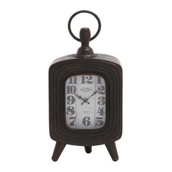 Benzara - Antique Metal Table Clock with Three Legs - Antique metal table clock with three legs. Add a touch of old world charm to your interiors with this classical themed table clock. The metal clock is made from high quality metal that will last for years to come. The metal clock comes in dimensions of 28x3x28. Some assembly may be required.