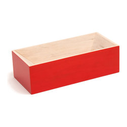 Y'A PAS LE FEU AU LAC - Les Briques Lacquered - Red - A simple but elegant reinterpretation of an everyday object. Bricks and cinder blocks have become modular multi-functional objects that exist in homes as containers or bookends. LES BRIQUES takes the re-purposed brick one step further. Constructed from hornbeam wood, these brightly colored containers are great for your desk top to hold pens and paperclips, but also perfect for emptying your pockets at the end of the day.