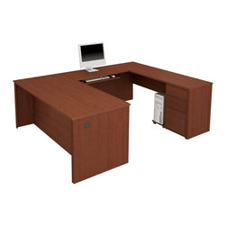 Bestar - Bestar Prestige + U-Shape Wood Computer Desk with Pedestal-Chocolate - Bestar - Computer Desks - 9987169 - The traditional style and modern-day functionality of this collection can answer all of your office needs. Just imagine the possibilities. The Prestige + collection combines elegance with the durability and versatility needed by today's office. This 5 piece reversible modular collection offers a multitude of configuration possibilities for the home or office.