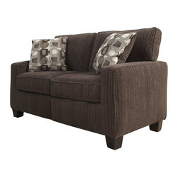 """Serta by True Innovations - Serta San Paolo Love Seat in Mink Brown Fabric - Serta by True Innovations - Loveseats - CR43530PB - For more than 75 years Serta has been an industry leader in comfort products worldwide. That tradition of innovation and quality continues today. From a brand that is synonymous with quality comfort and style the Serta San Paolo Collection Love Seat offers many attractive features that you're going to love. Starting with its Tool-free EZ assembly which is the most convenient and stress free on the market today. This product goes from box to built in mere minutes. But that's just the beginning this love seat is generous and comfortable as well. In fact you might find it a great place for a nap! Here's why: Starting from the ground up you have a solid stance on real wood legs. Next the lower foundation is constructed with hardwood materials and the tried and true method of mechanically fastened and glued hardwood plywood corner blocks that reinforce the frame and sturdiness along with track style arms with corrugated reinforced outer-sides. Attached to that are heavy-duty 8 gauge anti-sag sinuous springs secured and joined with a double row of tie wire. This forms a comfortable supportive and lasting seating structure. Resting upon this are seat cushions with rows of individually pocketed comfort coils surrounded by high density seating foam and premium quality poly-fibers on top. This cushion system forms the basis of our """"sit down and sink in"""" feel. Behind that you have the upper structure which consists of more hardwood material and a matrix of non-woven strapping that form a dense and sturdy back structure. In front of that are the pillowed back cushions. These consist of an inner poly-fiber core contained in a non-woven cover to help maintain shape and density. Wrap the whole thing in a lush and luxurious 100% polyester Mink Brown Fabric and you have a gorgeous piece for any living space. 1 year limited warranty. Product assembly is req"""