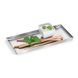 Blomus - Trayan Stainless Steel Serving Tray - Small - It's always a good time to put something out to snack on: holiday cookies — hors d'oeuvres, sushi rolls, breadsticks, cheeses ... Are you hungry yet? This is just the tray to help you serve it all on. This sleek little number holds an amazing array of goodies for your guests, all contained by a curvaceous little lip around the sides.