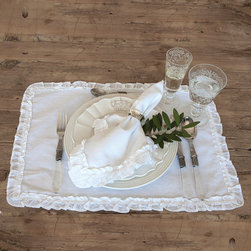 Audrey - Cotton - Placemats - White - (Set Of 4) - A delicate voile ruffle surrounds the edges of each white cotton Audrey Placemat, giving it a timeless look that suggests the classic simplicity of heirloom pieces to tell every dinner guest that prized linens have been brought out for their use at table.  Practical enough for everyday but attractive enough for formal dining, these traditional white cloth placemats are a perfect canvas for your creativity in the medium of beautiful place settings.
