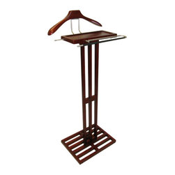 Proman - Proman Proman Kyoto Men's Valet, Solid Wood, Mahogany Color - Kyoto Valet, solid wood, in mahogany color, satin nickel hardware. Stylish design. Large size tray top.
