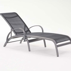 Modone Single-Chaise Lounge By Koverton - An innovative new classic,the Modone Single Chaise Lounge is relaxed elegance. It features a gentle curved back and seat fabricated from PVC coated polyester with a bold aluminum frame. Move the backrest up and down to set your right position under the sun.