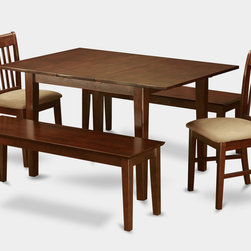 """East West Furniture - Milan 5Pc Set with Dining Table, 2 Norfolk Chairs and 2 Capri Benches - Milan 5Pc Set with Rectangular 36 X 54 Table with 12 In Butterfly Leaf and 2 Cushioned Seat Chairs and 2 Capri Benches; Rectangular dining table is designed in contemporary style with clean angles and sleek lines.; Table and chairs are crafted of fine Asian solid wood for quality and longevity.; Chairs are available with either wooden seats or upholstered seats to suit preference and desired motif.; Table features a standard butterfly leaf for convenient extension.; Ladder back chair style is sturdy, durable, and is ideal for classic decor in any kitchen or dining room.; Dinette sets are available in either rich Mahogany or exquisite Saddle Brown finish.; Weight: 161 lbs; Dimensions: Table: 42 - 54""""L x 36""""W x 29.5""""H; Chair: 18""""L x 17""""W x 36.5""""H; Bench: 51""""L x 15""""W x 17.75""""H"""