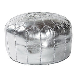 Moroccan Leather Pouf, Silver - Moroccan poufs are all the rage, so why not incorporate this silver seat into your living room this holiday season? It will continue to glam up your space long after the holidays are over.