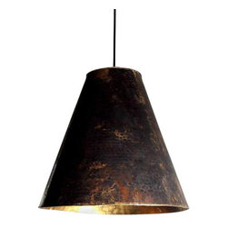 "Objet - Large Hammered Copper Hanging Shade - Large hammered copper hanging shade with gold interior. 16"" diameter x 16""h, overall height is adjustable (approx 60""). This listing is for the shade only."