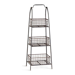 Essex Basket Stand - Practical, industrial, beautiful. The Essex Basket Stand allows you to gather garden vegetables, fresh fruits, and other comestibles in three removable wire baskets that feature cutout handles at each end for ease in carrying. Fashioned from raw steel that lends the piece an industrial flair, the basket stand is also well-suited for the containment of business supplies in a home office or fresh linens in the bath.