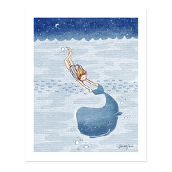 Sarah Jane Studios - Whale Dreams (Girl), 16x20 - This fine art print is created from a hand drawn & digitally colored illustration signed by Sarah Jane. Each illustration is printed with a gicl̩e fine art printing process on archival museum quality paper.