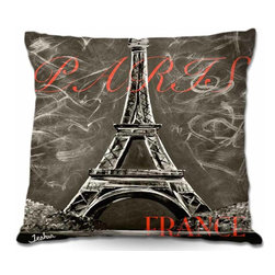 DiaNoche Designs - Pillow Woven Poplin - Vintage Lamour a Paris Sepia - Toss this decorative pillow on any bed, sofa or chair, and add personality to your chic and stylish decor. Lay your head against your new art and relax! Made of woven Poly-Poplin.  Includes a cushy supportive pillow insert, zipped inside. Dye Sublimation printing adheres the ink to the material for long life and durability. Double Sided Print, Machine Washable, Product may vary slightly from image.
