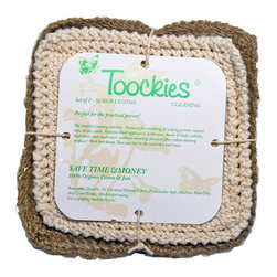 Toockies - Toockies Multi,Purpose Scrub Cloths , Set of 2 - The pair of Toockies scrub cloths contained in this handy pack is tough enough to handle the biggest messes, yet still friendly to the environment. These 100 percent organic cotton and jute dishcloths feature a textured ribbed weave for effortless scrubbing.