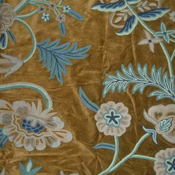 Crewel Fabric World by MDS - Crewel Fabric Chelsea Dark Olive Green Cotton Velvet- Yardage - Artisans in a remote mountain village in Kashmir crewel stitch these blossoms, vines and leaves by hand, resulting in a lush pattern of richly shaded wool yarns on Linen, Cotton, Velvet and Silk.