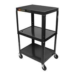 Luxor Furniture - Adjustable AV Cart in Black - Includes 4 in. swivel casters and safety mats. Two casters with locking brake. 3-outlets 15 ft. UL and CSA listed electrical assembly with cord plug snap. Three shelves. Roll formed shelves with powder coat paint finish. 0.25 in. lip around each shelf. Robotically welded and cables pass through holes. Made from steel. Made in USA. 24 in. L x 18 in. W x 24 - 42 in. H. Warranty. Instructions Manual