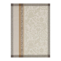 """Le Jacquard Francais - Le Jacquard Francais Manosque Beige Tea / Kitchen Towel 24 x 31 """" - From dawn, the first golden rays filter through the blinds to illuminate a day filled with moments of joy beneath olive trees. Damask fabric. 100% Pure cotton colored warp and weft."""