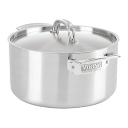Viking - Viking Professional 5-Ply 6 Qt. Stock Pot, Satin Finish - The Viking Professional 6 quart stockpot's 5 ply construction on the base and side help achieve rolling boils in significantly shorter time than conventional stockpots- ideal for preparing pastas. The high walls minimize evaporation, ideal for slow simmering stocks and stews.  5-Ply construction maximizes heat transfer and reduces energy usage, features that enable Viking cookware to deliver superior cooking performance. The exterior layer is magnetic stainless steel that makes it suitable for induction stovetops. The next layer of aluminum alloy bonds to the middle layer, which is 3004 aluminum. The fourth layer is an aluminum alloy bonded to the interior 18/10 high-grade stainless steel. Together, these five layers work in unison to transfer heat quickly and evenly through the bottom and sides of the pan, making the stockpot extremely responsive to changes in heat. The raised lid handle makes sure that it stays cool, allowing for space for use with baking mitt or towels. The non-reactive and non-porous inner layer of stainless steel combines with the efficiency of the core to make an ideal cooking surface that is easy to clean and sanitize.   The 5-ply construction is designed to be used in the oven the same way professional chefs use their cookware in a restaurant kitchen. Stove, oven, and grill friendly up to 600F degrees. HANDCRAFTED IN THE USA with a limited lifetime warranty.