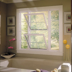 "Double Hung Replacement Window - Double Hung Replacement Window with 5/8"" flat grid in window and transoms"