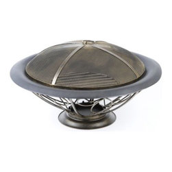Scroll Fire Pit - Banish those chilly spring evenings with a Scroll Fire Pit.  This fire pit is crafted of metal with a dark bronze finish.  The fire bowl sits atop an urn base with scroll metal cut-out accents in antique gold.