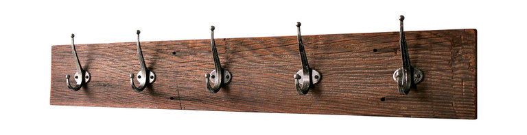 """Bluebirdheaven - Reclaimed Barn Wood Coat Rack, 36"""" (Five Hook) - This unique, reclaimed barn lumber coat rack is a great way to organize. Makes a wonderful entry way addition or a classic mudroom piece."""
