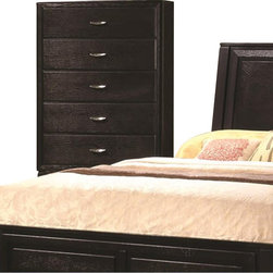 Coaster - Coaster Nacey 5 Drawer Chest in Brown Black Stain - Coaster - Chests - 201965 - Solve all your storage needs with this vertical chest. It features five spacious drawers to store all your T-shirts, jeans, sweaters and more. Each drawer features dovetail construction and metal glides for a smooth open and close process. The brushed nickel finished metal hardware adds an appealing and modern look to the drawers.