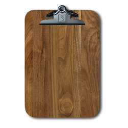 "Note Catchers by Winwood Designs - Walnut Clipboard, Beautiful and Practical - A Classic American Clipboard designed to hold a standard pad of paper (8.5""X12""). Crafted from Solid Appalachian Walnut wood. Made in the USA with earth friendly American hardwoods. Perfect for home, office or field. Organize your day with this beautiful accessory. A desk for your mobile office!"