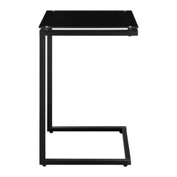 Altra Furniture - Altra Furniture Glass Top C End Table in Black - Altra Furniture - End Tables - 5172396 - The glass top C table is a perfect end table or work space. Slide it up to the couch and you can work on your laptop or eat your dinner! with its multi-function and good looks, you will love this table in every color!