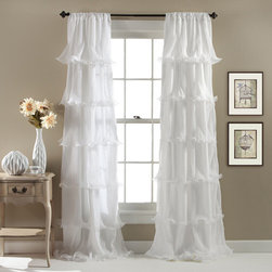 Lush Decor - Nerina White 84 x 54-Inch Window Curtain Single Panel - - Cascades of sheer ruffles on smooth microfiber, a soft hue, and a flowy silhouette make Nernia window panels stand out from the rest. 3-Inch rod pocket slides onto curtain rod for quick installation  - Set Includes: 1 Panel  - Each Panel: 84-Inch H x 54-Inch W  - Care Instructions: Machine wash cold, gentle cycle, use only non-chlorine bleach when needed, tumble dry low, steam if needed and do not iron. Lush Decor - C20517P14-000