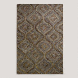 Blue and Gray Tonal Hooked Rug -