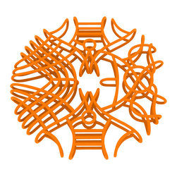 Matt Grote - 3D Printed Chaos Wire Coaster, Orange - Show off your distinct and somewhat chaotic style with this wireframe coaster. Disorganizedly organized. A fun way to decorate your home while keeping your furniture protected. A modern twist on the ever-handy coaster.