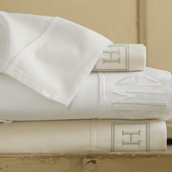 PB Essential 300-Thread-Count Sheet Set, Cal. King, Ivory - Designed for exceptional softness that's easy on your budget, our PB Essentials Bedding is simply the best value you can find. Pure Egyptian cotton sateen. 300 thread count. Set includes flat sheet, fitted sheet and two pillowcases (one with twin). Sheets also sold individually: flat sheet, fitted sheet or 2 pillowcases. Available in white or ivory. Monogramming is available at an additional charge. Monogram will be centered along the border of the pillowcase and the flat sheet. Machine wash. Imported.