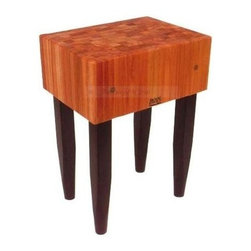 John Boos - Butcher Block in Cherry End Grain Top (18 in. - Choose Size: 18 in. x 18 in.Face and sides standard with boos block cream finish with beeswax. 10 in. Deep end grain cherry top. Stands 34 in. High. L-4 Legs (Pencil) standard. Standard Varnique finish