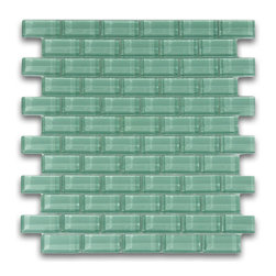 """Subway Tile Outlet - Sage Green 1x2 Mini Glass Subway Tile - The Sage Green Mini Subway Tile is made from the strongest stain-resistant crystal clear glass. These tiles have a 8mm thickness that increases their durability and the depth of their color making them truly beautiful subway tiles. These subway tiles can be used for commercial or residential construction in either a wet or dry environment.    All Mini Subway tiles are sold in sheets tiles making one square foot per sheet. The individual tiles measure 1""""x2""""."""