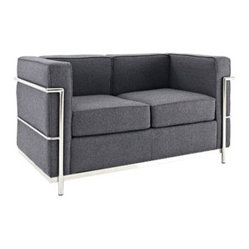 Le Corbusier Style LC2 Loveseat in Dark Gray Wool