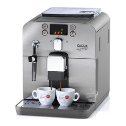 Gaggia - Gaggia Brera Silver Espresso Machine Coffee Maker - Compact design. Sleek machine can fits on any corner. Programmable four button control panel. Front access cleaning. Optidose controls strength of espresso. Bypass doser. Automatic rinsing cycle. Stainless steel boiler and front panel. Rotating steam and hot water wand. Water filtration system. A class energy rating. Mavea water filter. Coffee bean container, grounds disposal, water tank and drip tray are accessible from the front of the machine for easy access and maintenance. Dedicated icons for brewing and steaming functions quick reference. Warranty: One year parts and labor. Made from plastic. No assembly required. 10 in. W x 15.5 in. D x 11.5 in. H (25 lbs.)The new face of traditional Italian espresso, the Gaggia Brera features compact design that is much more space efficient than most machines in its class. But don't let its size fool you; this super automatic takes full advantage of advanced technology allowing it to go toe-to-toe with the industry's heavyweights. All of the parts used for daily operations. The Brera has been designed to cater to those seeking convenience. The Brera's mechanical functions are undeniably sophisticated. The machine can also memorize drink volume to deliver a truly customized beverage. In addition, you can use pre-ground or decaf coffee, thanks to the integrated bypass doser! But, should you wish to take advantage of the Brera's grinding functions, the durable ceramic grinder won't disappoint. Best of all, the innovative Brera uses the Gaggia Adapting System to monitor and automatically adjust the grind time, based on your beans, to deliver the exact quantity of coffee selected!