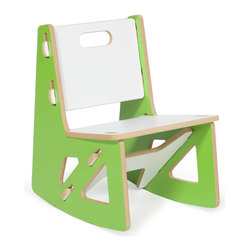Quark Enterprises - Kids Rocking Chair, Green/White - This contemporary rocking chair looks like the perfect place for a kid to relax. It would be a stylish addition to your playroom, and it's a breeze to put together without any tools required.