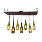 Industrial Lightworks - Recycled Wine Bottle Lighting- MidCentury Chandelier with 7 Wine Bottle Pendants - 7 Recycled Wine Bottle Chandelier