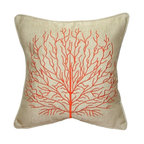 Pillow Decor - Pillow Decor - Fire Coral 17x17 Throw Pillow, Orange - Decorative Pillow Features