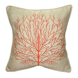 Pillow Decor - Pillow Decor - Fire Coral 17 x 17 Throw Pillow, Orange - Decorative Pillow