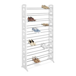Home Decorators Collection - Resin Shoe Tower - The Resin Shoe Tower is a great way to end the shoe clutter in your walk-in closet. It's sturdily made of resin, is easily adjustable and will hold up to 50 pairs of shoes for the ultimate in closet organization. Add it now to your home decor order.Durably made with resin sides and non-slip, coated steel bars.Will hold up to 50 pairs of shoes.Bars are height and depth adjustable with snap-on feet for stability.Sides snap together for connecting multiple units as your shoe collection grows.Has an easy no-tool assembly.