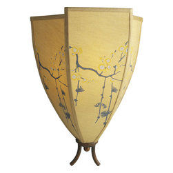Paradise East Wall Sconce - One of a line of light fixtures that emulates an Asian umbrella. Hand painted silk beautifully diffuses light.