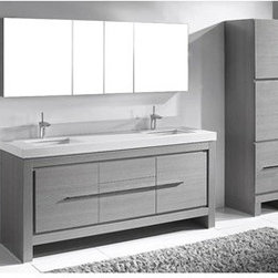 "Madeli - Madeli Vicenza 72"" Double Bathroom Vanity For Quartzstone Top - Ash Grey - Madeli brings together a team with 25 years of combined experience, the newest production technologies, and reliable availability of it's products. Featuring sleek sophisticated lines Madeli vanities are also created with contemporary finishes and materials. Some vanities also feature Blum soft-close hardware. Madeli also includes a Limited 1 Year Warranty on Glass Vessels, Basin, and Counter Tops. Features Base vanity with two soft-close drawers and two soft-close doors Two interior pull-out traysAsh Grey finish Polished Chrome handle and leg finish White Porcelain basins with overflow Quartzstone Top includes backsplash Faucets and drains are not included Matching mirrors and medicine cabinet set available Limited 1 Year Warranty on Glass Vessels, Basin, and Counter Tops How to handle your counter Spec Sheet Installation Instructions"