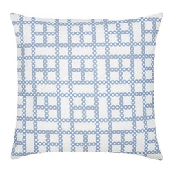 "Chain Cotton Pillow, Indigo - Modern and classic - the hallmark of the CocoCozy style.  This 100% cotton decorative pillow is sure to make a statement in any room. Each 20"" x 20"" pillow is custom made and manufactured in the United States with an invisible zipper and a knife edge finish.  Dry clean only."