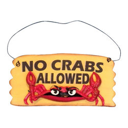 """Handcrafted Model Ships - Wooden No Crabs Allowed Sign 8"""" - Funny Beach Sign - Decorate your home with classic seafaring style, add to your collection of charming beach decor, and mount this Wooden No Crabs. Allowed Sign 8 inch in your home. This sign features a raised crab with pinchers pointing up adding dimension to this wooden beach sign."""